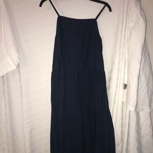 Navy blue linen cross back midi dress